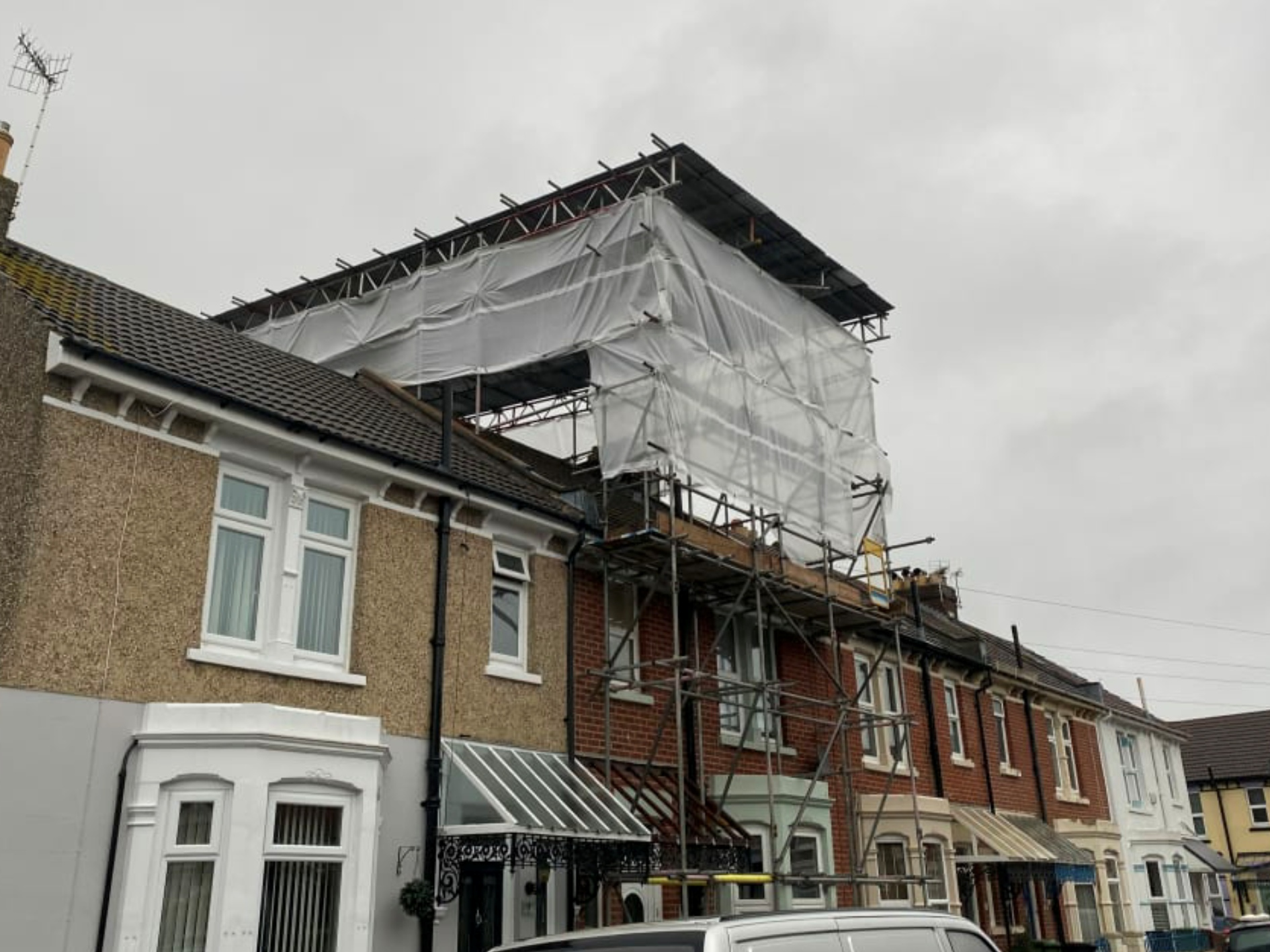 Scaffolding work Residential scaffolding on a terraced house